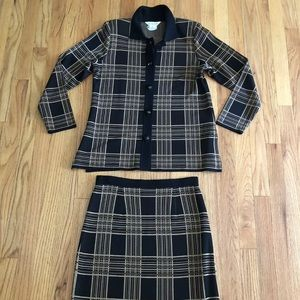 Exclusively Misook S Cardigan Skirt Set  Plaid